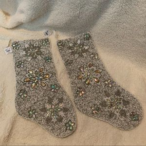 PIER 1 BEADED CHRISTMAS STOCKINGS SET OF 2 NWT